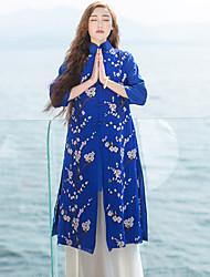Mulheres Jaqueta Casual Chinoiserie Primavera / Verão,Bordado Azul Seda / Linho Colarinho Chinês Manga ¾ Opaca
