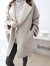 Women's Casual/Daily Simple CoatSolid Round Neck Long Sleeve Winter Gray Wool Thick