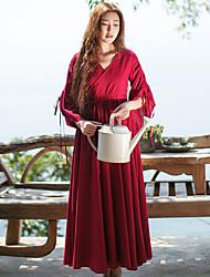 Ample Robe Femme Décontracté / Quotidien simple / Chinoiserie,Couleur Pleine Col en V Maxi Manches ¾ Rouge Lin Printemps / EtéTaille
