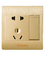 Champagne Colored Drawing One Open Five Hole Switch Socket