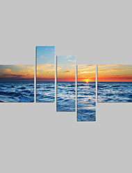 Seascape Photographic Canvas Wall Art Beach Stretched Canvas Print Five Panels High Quality Canvas Ready to Hang
