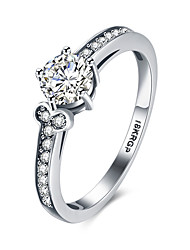 lureme18kRPG Cubic Zirconia Bone Shape Wedding Engagement Band Ring