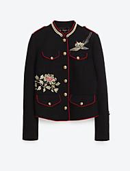 Damen Stickerei Einfach Lässig/Alltäglich Jacke,Rundhalsausschnitt Herbst Langarm Schwarz Baumwolle Mittel
