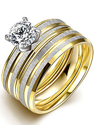 Ring Fashion Party Jewelry Gemstone & Crystal Women Engagement Ring / Band Rings 2pcs6 / 7 / 8 / 9 Gold / Silver