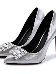 Серебристый-Женский-Свадьба / Для праздника / Для вечеринки / ужина-Лак-На шпильке-С Т-образной перепонкой-Обувь на каблуках