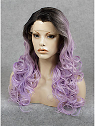 IMSTYLE Elegant Purple Ombre Dark Root Wave Synthetic Lace Front Wigs