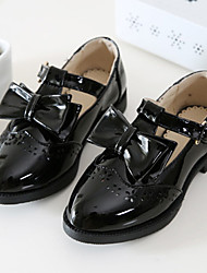 Girl's Flats Fall Patent Leather Casual Flat Heel Bowknot Black Red Other