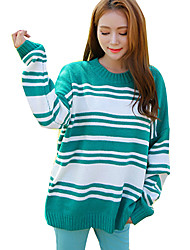 Women's Going out Street chic Loose Pullover Striped Round Neck Batwing Sleeve