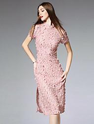 burdully женщин происходит из Chinoiserie кружева dressembroidered стоять миди короткий рукав средней высоты неэластичный среды