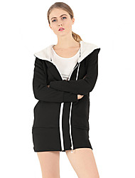 Women's Casual/Daily Simple / Street chic Long Hoodies Solid Hooded Long Sleeve Cotton / Polyester Winter Thick