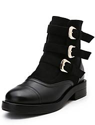 Women's Boots Fall / Winter Riding Boots / Comfort  Casual Flat Heel Hook & Loop Black / Gray Walking