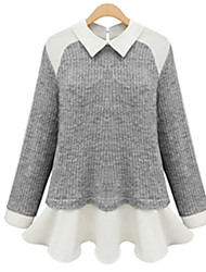Casual/Daily Cute Spring / Fall T-shirt,Patchwork Notch Lapel Long Sleeve Beige / Gray Polyester Opaque