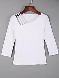 Tee-shirt Femme,Couleur Pleine Décontracté / Quotidien simple Automne Manches Longues Col Carré Rouge Blanc Noir Vert Jaune Coton Moyen