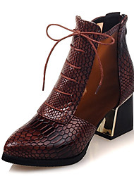 Dámské Boty Kotníčkové Módní obuv Koženka Jaro Podzim Zima Ležérní Šaty Šněrování Kačenka Platformy Hnědá Červená Modrá 5 - 7 cm