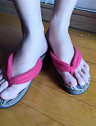 Damen-Slippers & Flip-Flops-Lässig-Polyester-Flacher Absatz-Fersenriemen-Rot