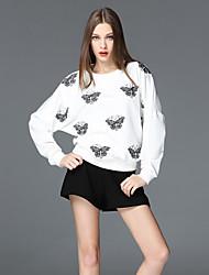 frmz Ausgehen anspruchsvolle Frühjahr / Herbst t-shirtanimal Druck Rundhals Langarm weiße Polyester Medium