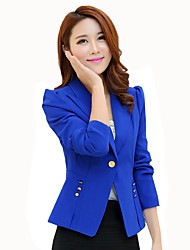 Women's Casual/Daily / Work Simple / Sophisticated OL Style Slim Hin Thin Blazer Solid Peaked Lapel Long Sleeve