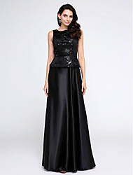 2017 TS Couture® Formal Evening Dress A-line Scoop Floor-length Stretch Satin with Sequins