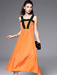BURDULLY  Women's Going out Simple Loose DressSolid Strap Knee-length Sleeveless Orange Polyester