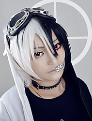Anime Dangan Ronpa Monokuma Cosplay Wigs Blakc White Color Mixed Short Wave Custome Wig Men Hairstyle