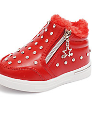 Girl's Boots Fall / Winter Fashion Boots / Comfort Leatherette Outdoor / Casual Flat Heel Beading / Zipper