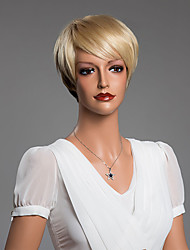 Hot Elegant Short Straight Capless Wigs With Bangs Human Hair Mixed Color 10Inch