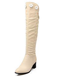 Women's Shoes Chunky Heel pointed Toe Applique Zip Over The Knee Boot More Color Available
