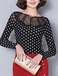 Damen Punkt Street Schick Ausgehen T-shirt,Rundhalsausschnitt Herbst Langarm Schwarz Polyester Dünn