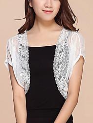 Damen Kurz Mantel / Capes-Arbeit Sexy / Street Schick Solide Weiß / Schwarz Ständer Kurzarm Baumwolle / Nylon Sommer Dünn Mikro-elastisch