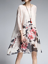 Women's Vintage Floral Loose Dress,Round Neck Asymmetrical Silk / Linen