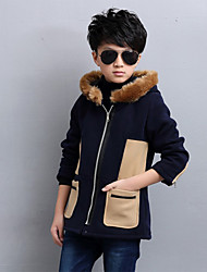 Boy's Casual/Daily Color Block Down & Cotton PaddedFaux Fur Winter Blue