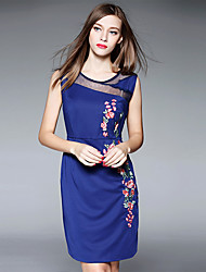 Women's Plus Size / Going out Chinoiserie Sheath DressEmbroidered Round Neck Above Knee Sleeveless Blue Cotton