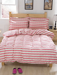 Bedtoppings Comforter Duvet Quilt Cover 4pcs Set Queen Size Flat Sheet Pillowcase Pink Stripe Pattern Prints Microfiber