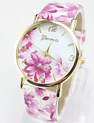 Women's Fashion Watch / Quartz Leather Band Flower Casual Multi-Colored