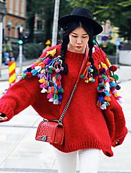 Mujer Corto Pullover Noche / Casual/Diario Bonito,Retazos Rojo Escote Redondo Manga Larga Lana Otoño / Invierno Grueso Microelástico