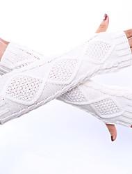 padrão decorativo luvas de cor sólida de inverno de lã de tricô cânhamo das mulheres