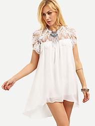 Women's Going out / Formal Simple / Street chic Loose DressSolid Round Neck Above Knee Short Sleeve White