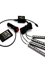luces del coche dentro de la lámpara de la atmósfera ambiente pie de la lámpara del coche LED de la música colorido voz lámpara decorativa
