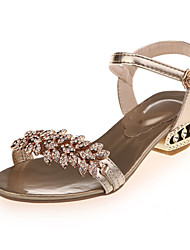 Women's Sandals Summer Comfort PU Casual Low Heel Buckle Silver / Rose Gold Others