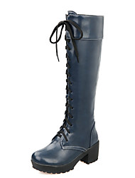 Women's Shoes Chunky Heel Round Toe Platform Lace Up Knee High Boot More Color Available
