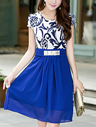 Women's Round Collar Chiffon Belt Short Sleeve Dress (More Colors)