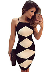 Women's White Diamond Patchwork Black Cami Dress