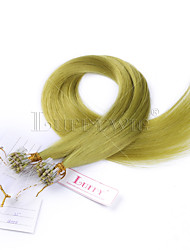 Green Color Straight Micro Loop Human Hair Extensions Brazilian Micro Loop Ring Links Human Hair Extensions