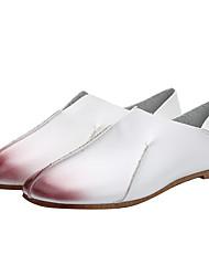 Feminino-Mocassins e Slip-Ons-Conforto / Chanel-Rasteiro-Marrom / Branco / Cinza-Courino-Ar-Livre / Casual