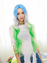 Long Natural Wave Wig Synthetic Wigs BlueAnd Gleen White Three Tone Ombre Wigs