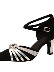 Customizable Women's Dance Shoes Flocking  Latin / Modern Sandals / Heels Customized Heel Professional / Indoor Black