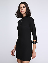 Women's Plus Size Simple Bodycon Dress,Solid Crew Neck Above Knee ¾ Sleeve Black Polyester Summer