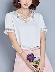 Mulheres Blusa Happy-Hour / Casual / Tamanhos Grandes Simples / Moda de Rua Todas as Estações,Sólido Azul / Rosa / Branco PoliésterDecote