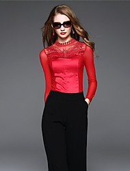 BOMOVO® Feminino Colarinho Chinês Manga Comprida Camisa Vermelho-B16QAN1