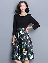 Women's Plus Size  Patchwork Round Neck Knee-length ¾ SleeveRed